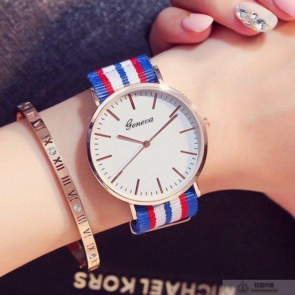 【英倫條紋風手錶】男錶 女錶 中性錶 對錶 情侶錶 條紋手錶 海軍風手錶 帆布錶帶