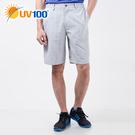UV100 防曬 抗UV-極簡舒柔格紋休閒短褲-男