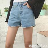 牛仔短褲女 早春新款女裝高腰寬鬆顯瘦波浪邊毛邊學生百搭牛仔闊腿短褲女熱褲 芭蕾朵朵