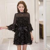 洋裝秋裝新款性感韓版透視雪紡拼接流蘇修身喇叭袖連身裙9627GT4F-461快時尚