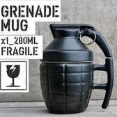 彩繪咖啡杯-立體手榴彈造型附蓋陶瓷馬克杯2色72ax21[時尚巴黎]