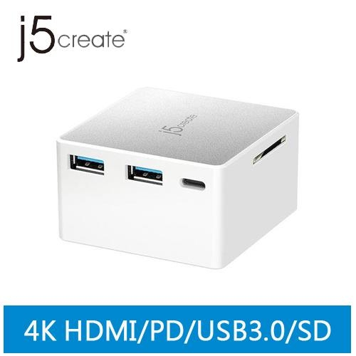 j5create JCDP385 USB Type-C 多功能迷你擴充電源供應器