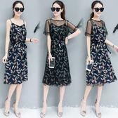 FINDSENSE G5 韓國時尚 新款 短袖 雪紡 碎花 裙子 中長款 網紗 連身裙