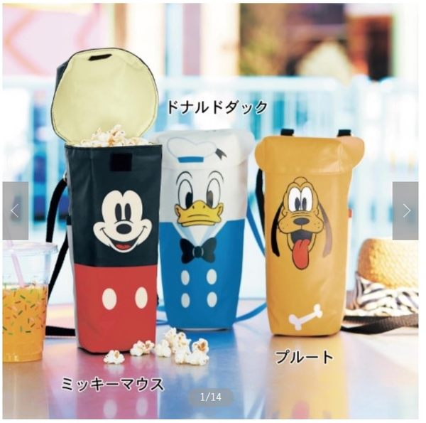 【京之物語】日本製造迪士尼(米奇/唐老鴨/布魯托)可收納爆米花桶 水壺袋-預購商品