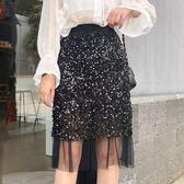 工廠值發不退換網紗半身裙春夏韓版高腰包臀裙子不規則亮片短裙女8132(T531)依品國際