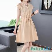 連身裙洋裝 貴夫人媽媽裝胖mm棉麻女夏裝2020新款時尚氣質減齡顯瘦裙子 OO12012『科炫3C』