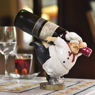 樹脂人物廚師紅酒架