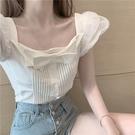 方領短袖甜辣上衣女夏季2021新款法式復古小眾設計感雪紡襯衫短款