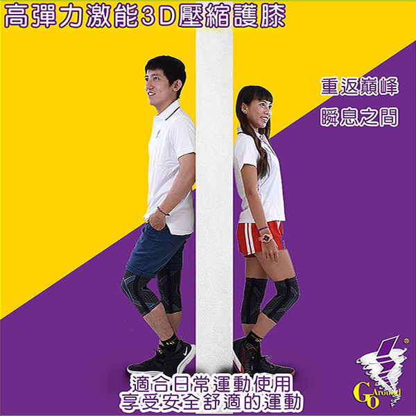 護具 涼感排汗鈦紫色護膝 GoAround  高彈力激能3D壓縮護膝(1入)醫療護具 排汗護膝  膝蓋保護 萊卡