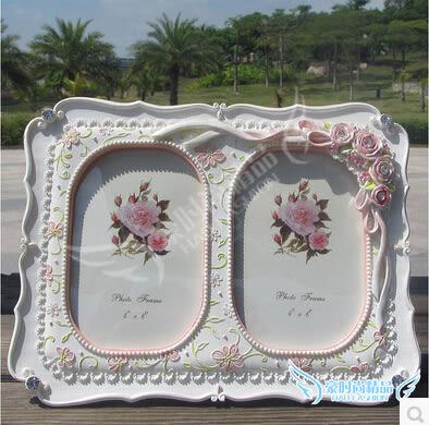 雙孔6寸玫瑰絲帶田園浮雕花相框雙人組合像框創意結婚情人節禮物
