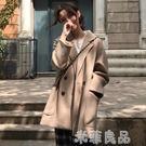 大衣女中長款流行韓版過膝呢子森系毛呢外套學生 『米菲良品』