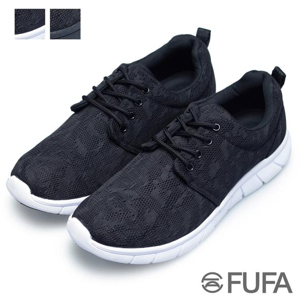 【富發牌】網布彈力輕量慢跑鞋-黑/全黑  2S114N