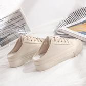 包頭半拖帆布鞋女2019春季新款韓版內增高百搭無後跟懶人鞋小白鞋