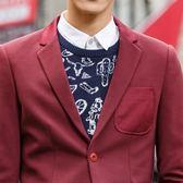 西服男修身針織休閒青年男士西裝外套時尚便西潮新款 【販衣小築】