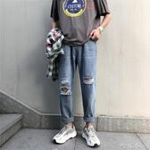 男生褲子ins原宿風潮流牛仔褲韓版寬鬆直筒乞丐褲夏季破洞九分褲 町目家
