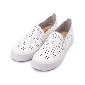 T-EGO 雷射雕花懶人鞋 白 女鞋