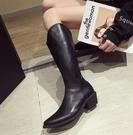 長靴 不過膝長靴女年瘦瘦新款長筒網紅馬丁白色尖頭高筒秋冬騎士靴 萬聖節狂歡