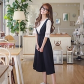 吊帶裙(套裝)-短袖蕾絲圓領修身高腰女背帶裙73nj12[巴黎精品]