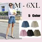大尺碼 薄款棉麻休閒闊腿短褲5色M-6XL【紐約七號】A8-046
