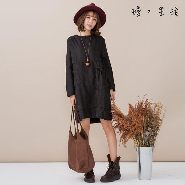 素色霧面棉絨雙口袋上衣(2色)-F【慢。生活】