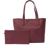 【MICHAEL KORS】防刮皮革拼色購物包/子母包(紫莓/淺粉)35F7SY2T3T PLUM/BLO