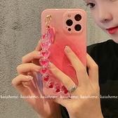 藝術漸變粉色愛心鏈條適用iphone12pro max蘋果11手機殼 卡布奇諾