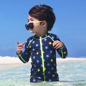 韓國外貿兒童泳衣 中大童男童長袖保暖連體星星游泳衣溫泉沖浪服