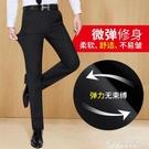 春夏季男士西褲薄款修身黑色西裝褲子直筒寬鬆休閒褲西服商務正裝 黛尼時尚精品