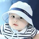 小童條紋遮陽帽 漁夫帽 帽子 盆帽 圓帽 防曬帽 有防風繩 橘魔法  男童 女童 童帽 嬰兒 小童