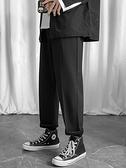褲子 休閒長褲子男秋冬季加絨韓版潮流寬鬆運動衛褲九分直筒墜感西褲A 宜品