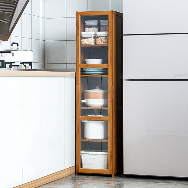 楠竹透明門餐廚收納櫃-單門五層30cm 透明櫥窗書櫃 帶門收納櫃【Y10232】快樂生活網