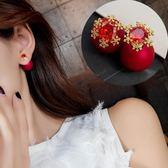 時尚 925銀針 珠子 聖誕 雪花 鋯石 銀針 耳釘 女  百搭 氣質 耳環 耳飾 配飾品