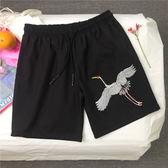 夏季韓國ulzzang原宿風仙鶴刺繡百搭休閒男女運動沙灘褲短褲 潮  良品鋪子