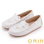 ORIN 俏麗女孩 貓咪電繡牛皮平底便鞋-白色