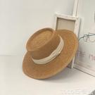 熱賣平頂帽網紅平頂草帽女夏海邊度假沙灘帽遮陽復古法式平沿帽子小清新禮帽 coco
