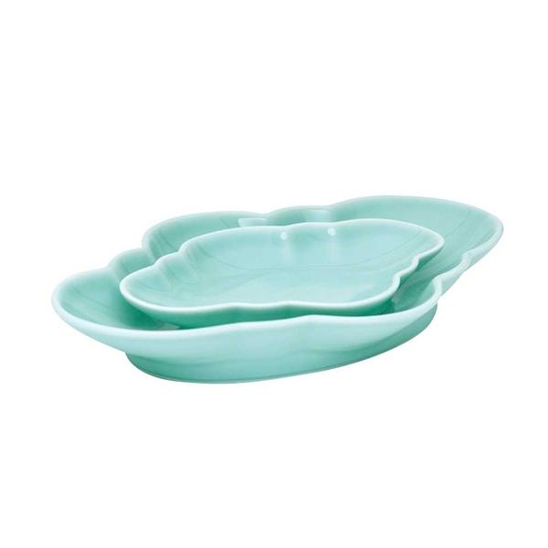 安達窯 青瓷 如意橢圓盤-L