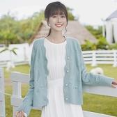 針織開衫帛卡琪2021新款春秋復古波浪邊開衫毛衣女釘珠針織衫菱形短外套潮 韓國時尚