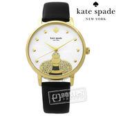 kate spade / KSW1082 / 晶鑽飛舞蜜蜂珍珠母貝真皮手錶 白x鍍金x黑 34mm