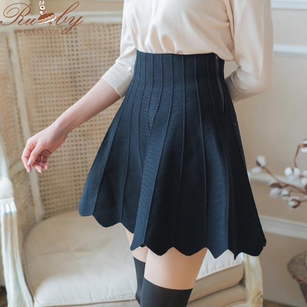 裙子 波浪花邊直條針織短裙-Ruby s 露比午茶