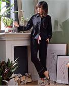 馬克公主睡衣女秋兩件套純棉長袖V領韓版黑色套裝ins新款2018潮款 鹿角巷