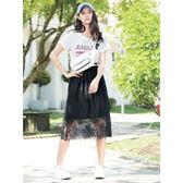 單一優惠價[H2O]整圈配色鬆緊帶顯瘦蕾絲花中長裙-黑/白色 #8682005