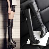 真皮過膝靴-歐美時尚個性鉚釘粗跟女長靴73iv34【時尚巴黎】
