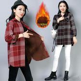 冬裝新款韓版文藝復古加絨加厚格子長袖棉襯衫外套襯衣上衣女『爆米花』