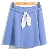 春夏7折[H2O]附點點絲巾裝飾腰帶多片裙剪接波浪褲裡短裙 - 黑/白/淺藍色 #0672021