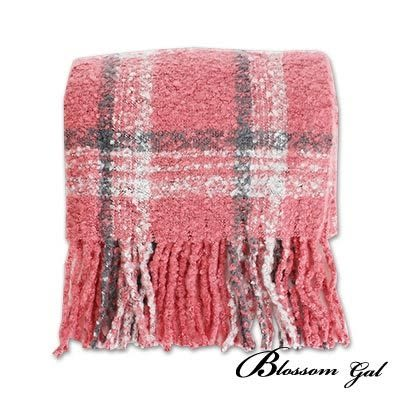 Blossom Gal 綿綿珍珠絨蘇格蘭格流蘇圍巾(共六色)