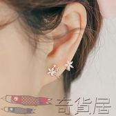韓國新款個性 甜美淑女花朵弧形925純銀耳釘女氣質簡約耳環【奇貨居】