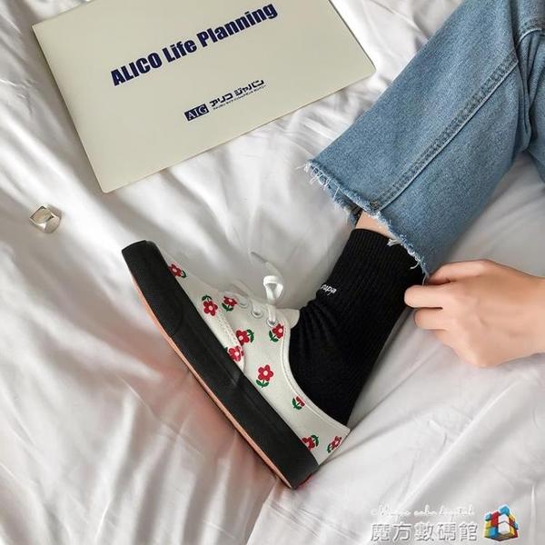塗鴉帆布鞋女夏季新款韓版ulzzang百搭學生網紅小白鞋ins板鞋 完美居家
