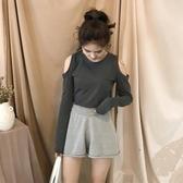 長袖T恤夏裝女上衣長袖性感露肩小心機修身體恤韓版學生純色百搭防曬T恤 限時特惠