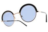 CARIN 太陽眼鏡 BENILA C1 (黑玫瑰金-藍鏡片) 韓星秀智代言 個性圓眉框款 墨鏡 # 金橘眼鏡
