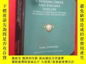 二手書博民逛書店A罕見Modern Greek and English Lexi